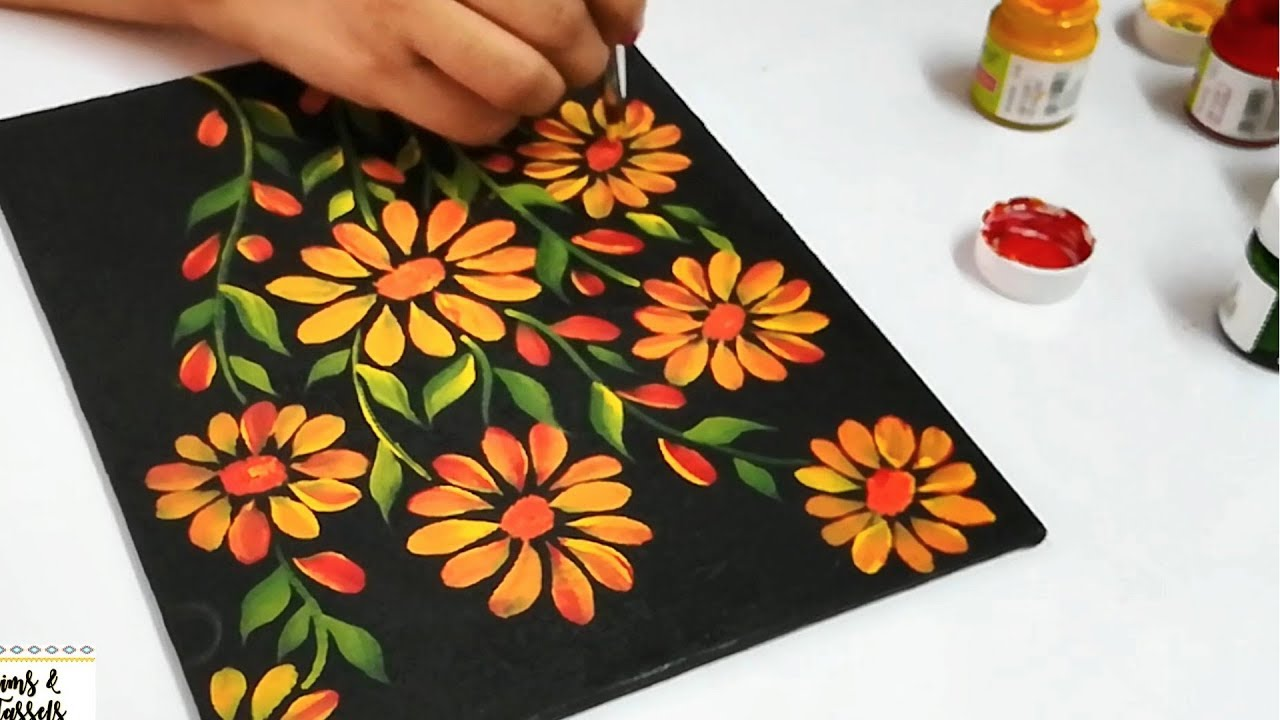 nice Painting On Black Canvas Part - 6: How to use Acrylic Paints on Black Canvas | Acrylic Painting Techniques |  Acrylic Painting Tutorial