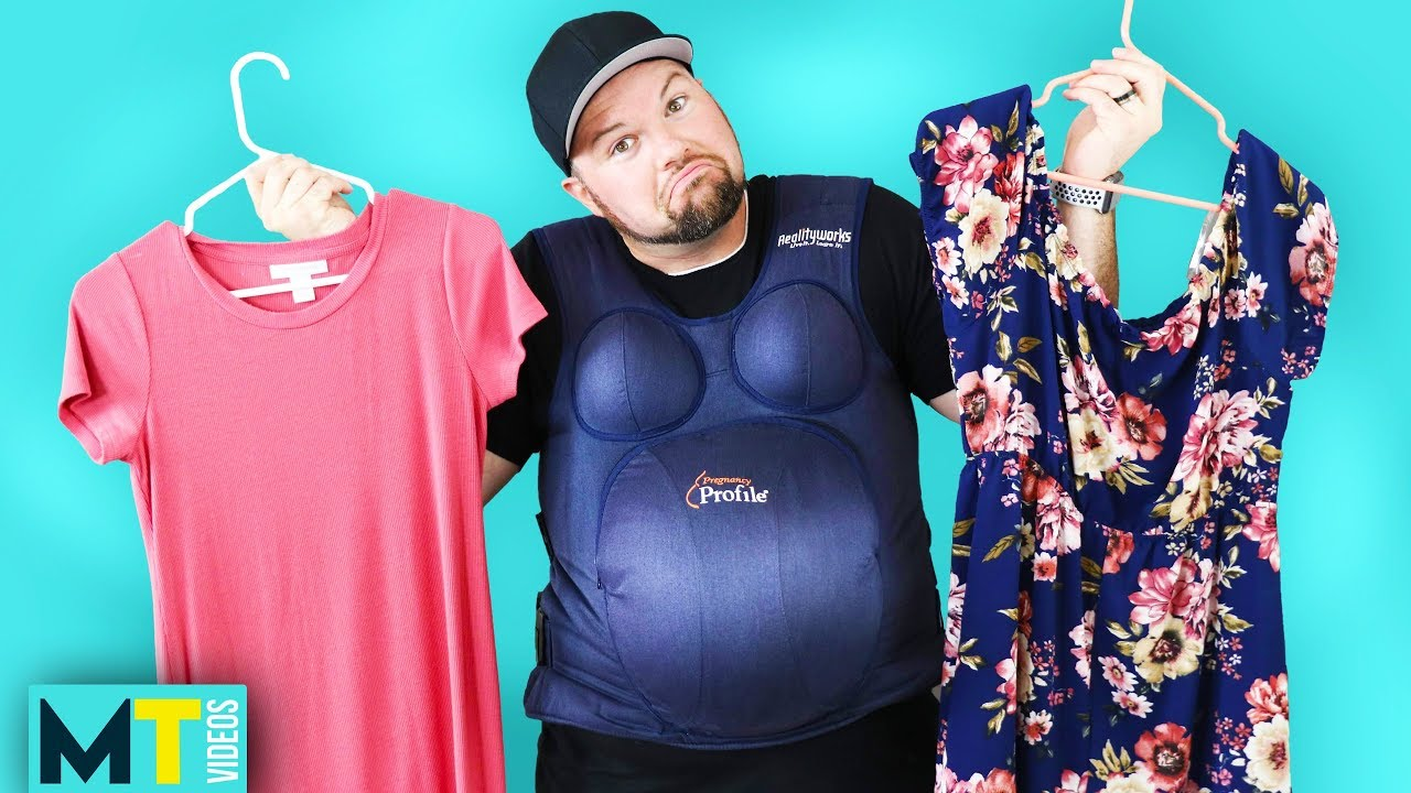 634c52ab215b9 Men Try Maternity Clothes With Pregnancy Bellies - YouTube