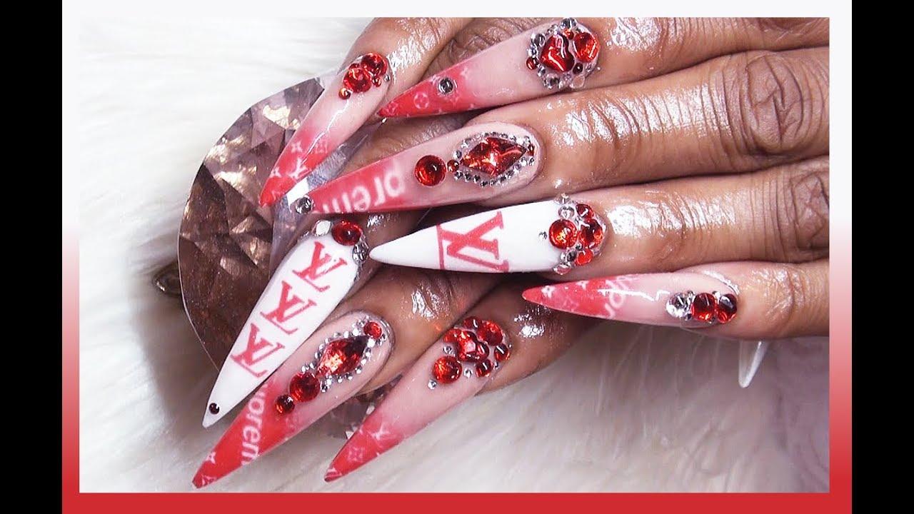 SUPREME X LV Acrylic Nails Full Set - YouTube