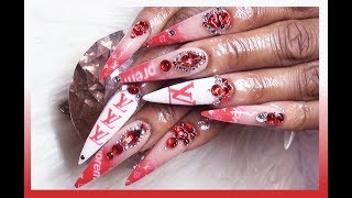 SUPREME X LV Acrylic Nails Full Set