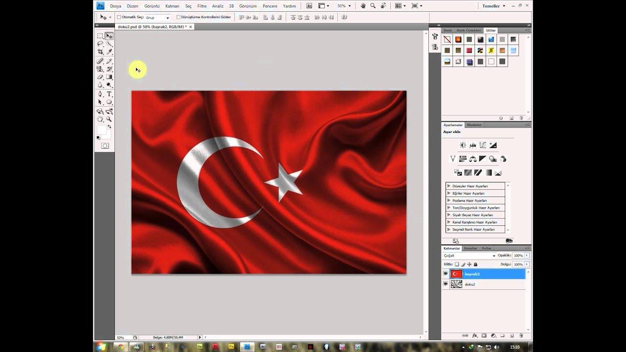 Photoshop Cs4 Tr Dalgalı Bayrak Yapımı Youtube
