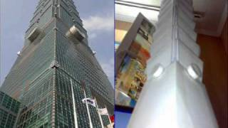 mock-ups Burj Khalifa, Petronas Tower, Sears, Eiffel Tower, Burj al Arab