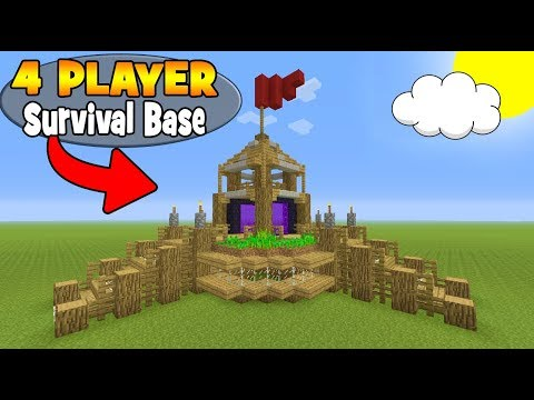 """Minecraft Tutorial: How To Make A 4 Player Survival Base """"With Everything You Need To Survive"""""""