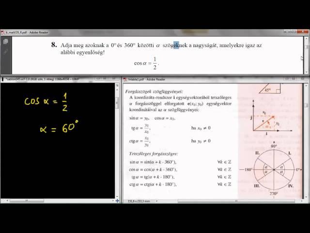 8. Feladat - Szögfüggvények, trigonometrikus egyenlet