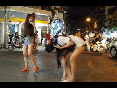 Beautiful Vietnamese Women In The Beer Street Of Hanoi, Walking Around Hanoi