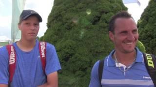 Daniel Pátý a Jan Valenta po prohře v 1. kole čtyřhry na turnaji Futures v Ústí n. O.