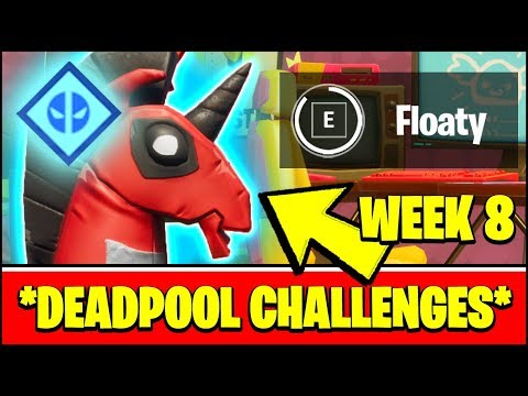 ALL DEADPOOL CHALLENGES WEEK 8 - FIND DEADPOOL'S POOL FLOATY LOCATION IN GAME (Fortnite)