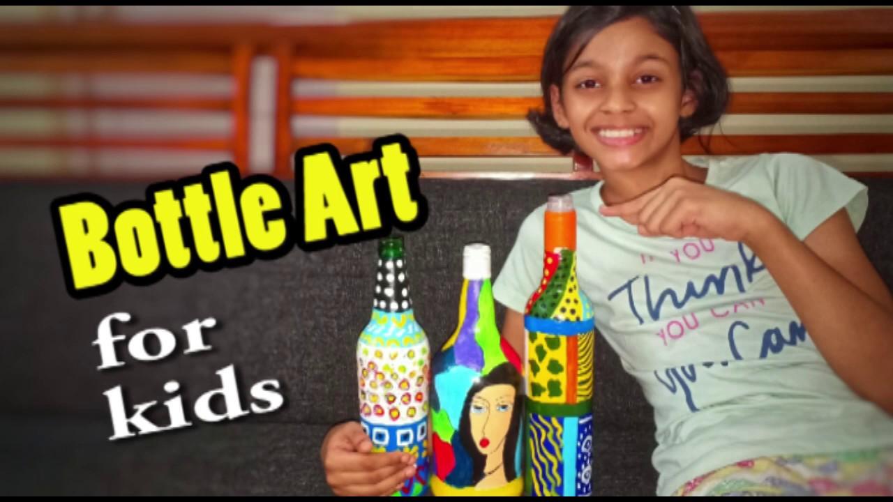 Bottle Art For Kids Bottle Art For Beginners How To Do Bottle Painting Bottle Art Tutorial Youtube