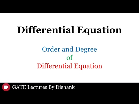Differential Equation (GATE): Order and Degree GATE 2018