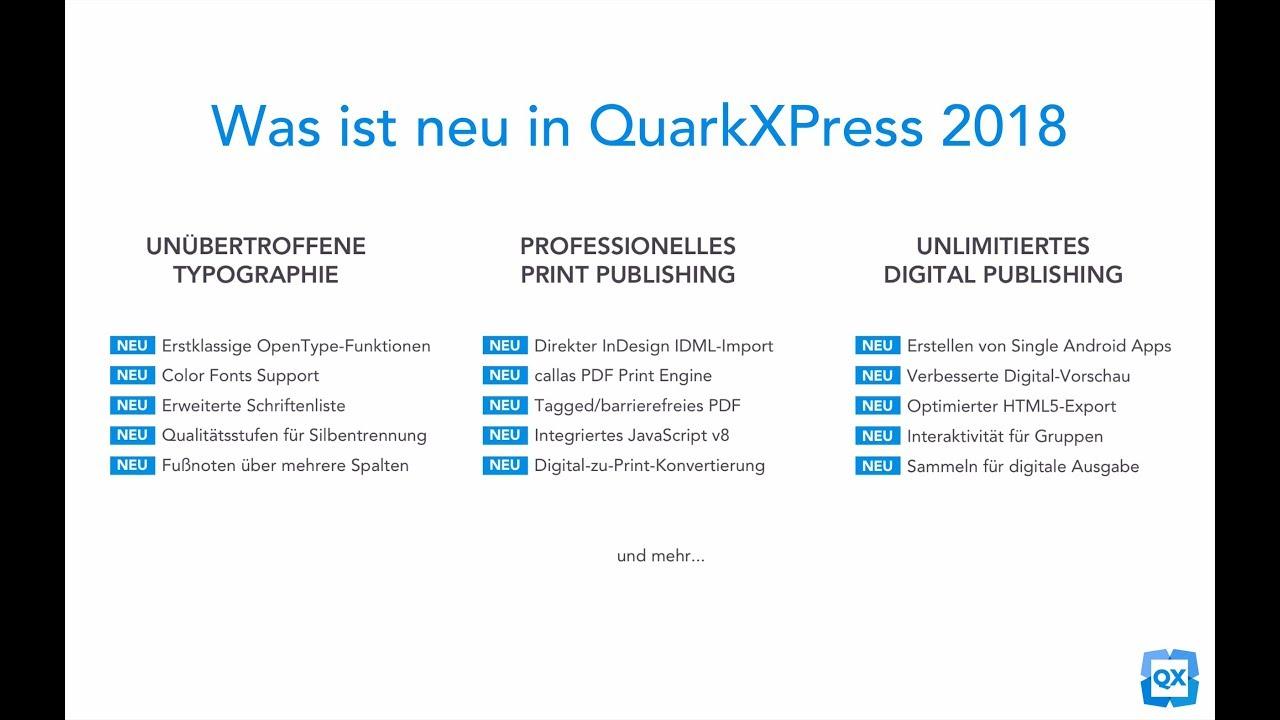 Was ist neu in QuarkXPress 2018 – 5 Minuten Übersicht - YouTube