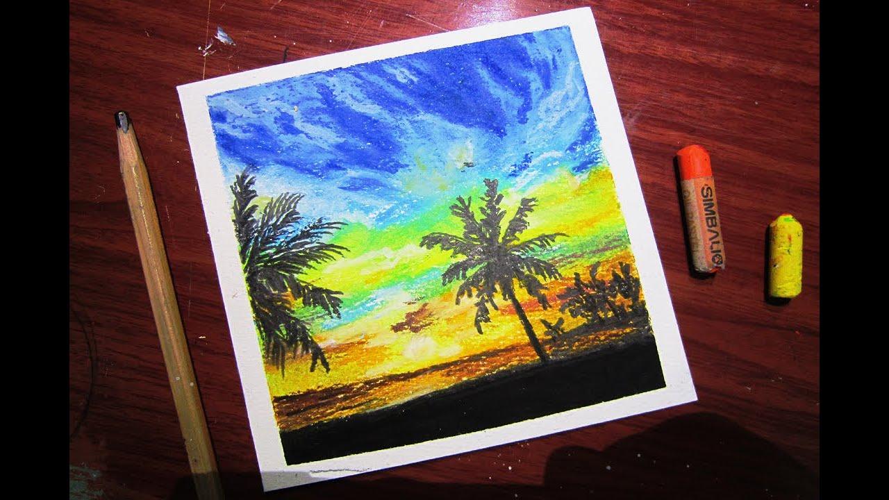 Vẽ phong cảnh biển lúc bình minh với màu sáp dầu /Draw a sea landscape at sunrise with oil pastels