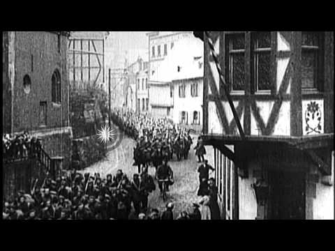 Allied troops celebrate the Armistice Day on November 11th, 1918 marking the end ...HD Stock Footage