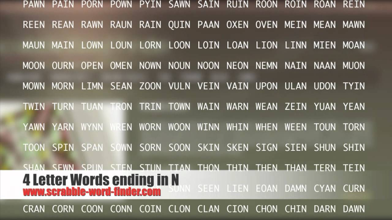 4 letter words ending in N   YouTube