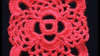 Repeat youtube video Crochet : Motivo Cuadrado # 1.  Parte 1 de 2