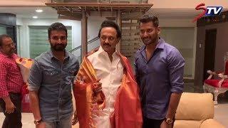 Actor Vishal meets dmk leader MK Stalin  | DMK, ADMK ,lok sabha election 2019 |STV