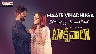 Maate Vinadhuga Whatsapp Status Video    Taxiwaala Movie    Vijay Deverakonda    Sid Sriram