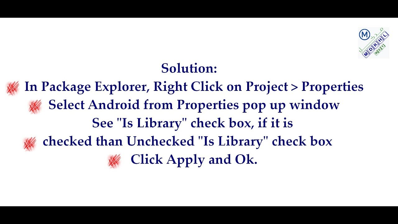 android library project cannot be launched คือ