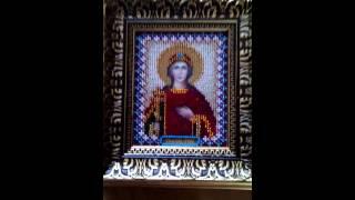"""оформление иконы """"Святая Ирина"""" вышивка бисером"""