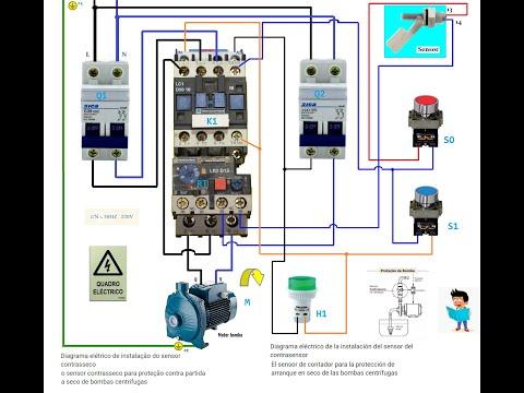 Esquema eléctrrico con sensor bomba centrifuga