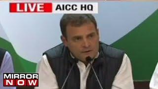 Congress President Rahul Gandhi briefs the media on Congress& 39 big win