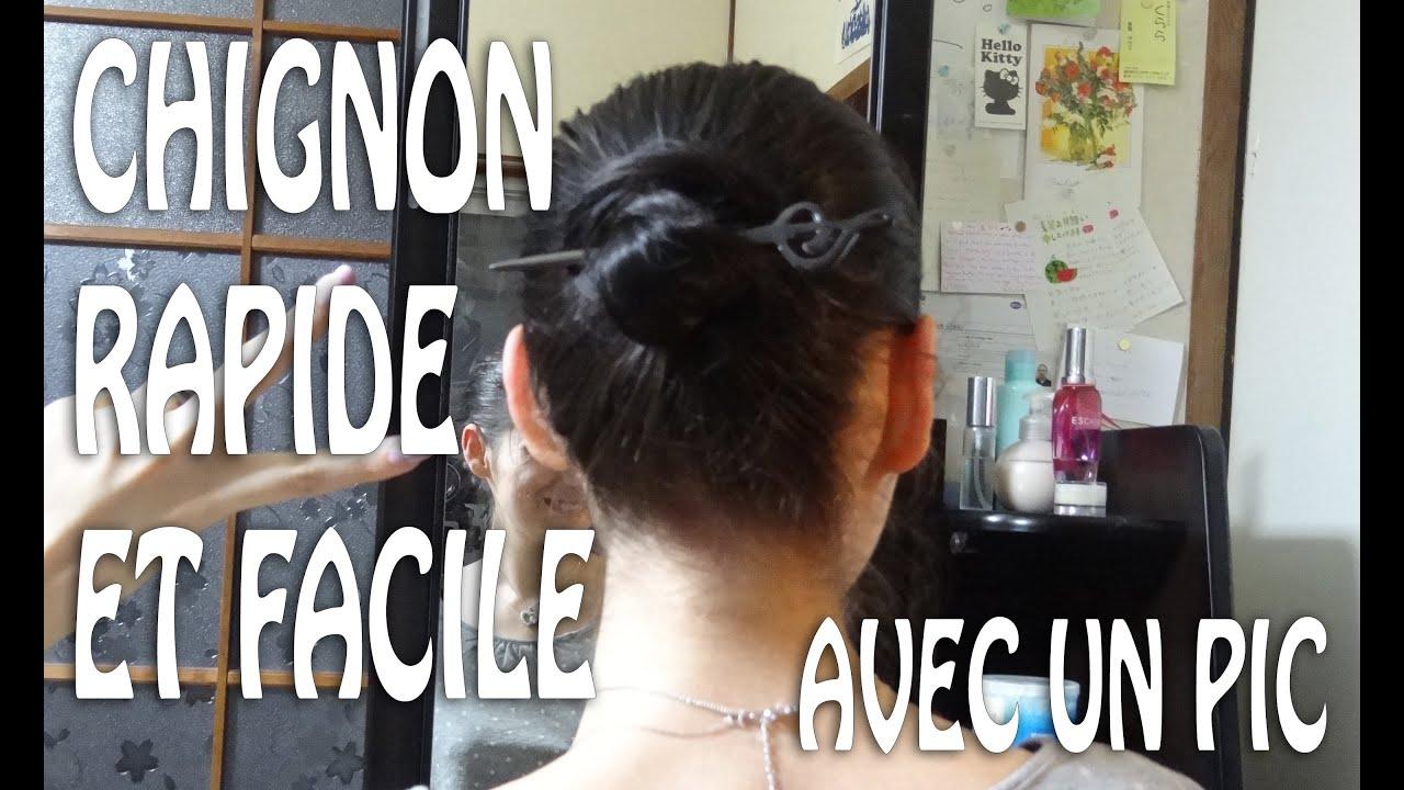Coiffure Chignon Rapide Et Facile Avec Un Pic Youtube