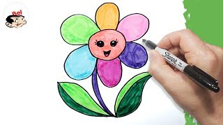 تعليم الرسم للاطفال | كيف ترسم زهرة | رسم وردة - رسم ورد