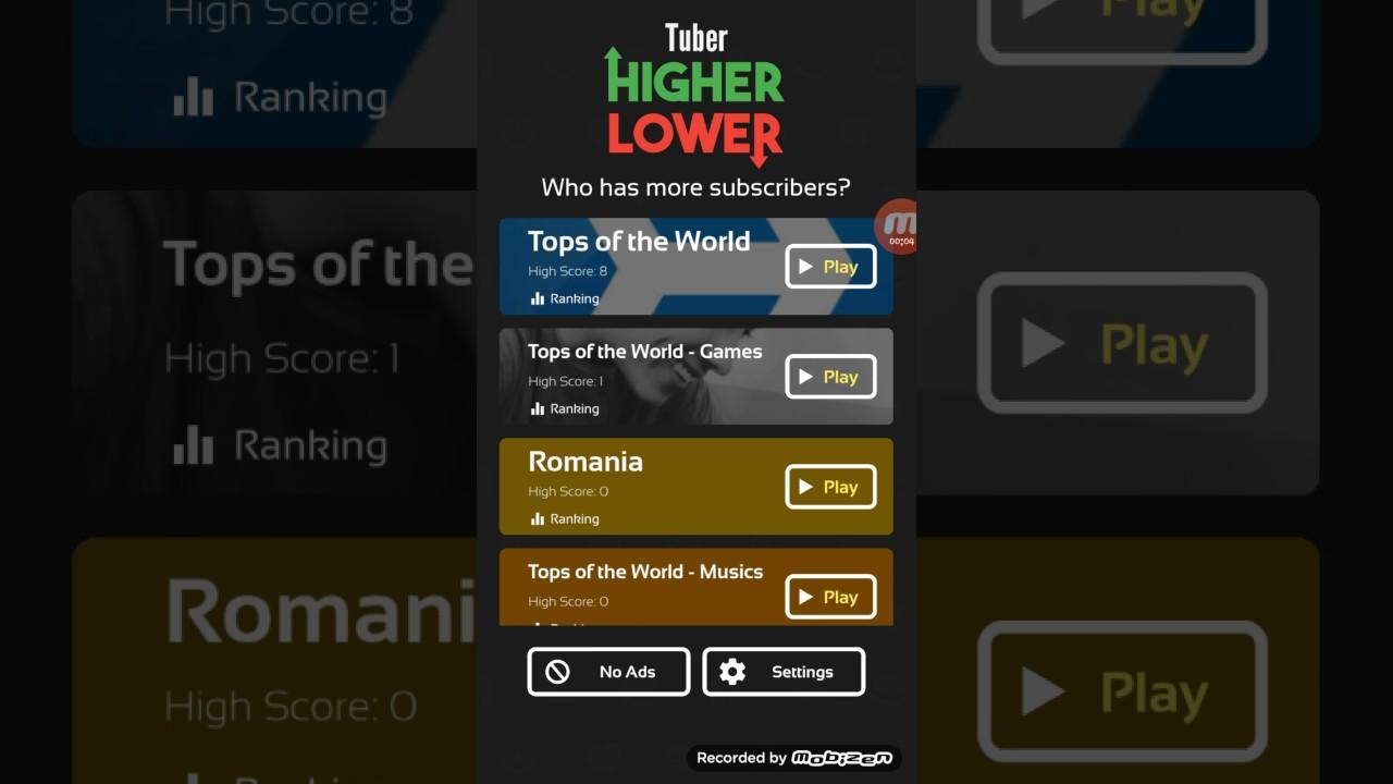 Tuber Higher Lower Game