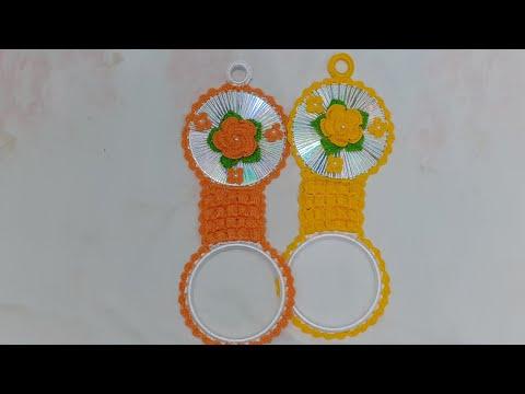 Porta pano de prato de crochê com cd # +Porta isqueiro (veja o passo a passo)
