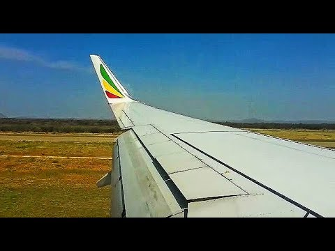 Ethiopian Airlines B738 (ET-AQP) Wingview Take off and landing at Gaborone Airport!