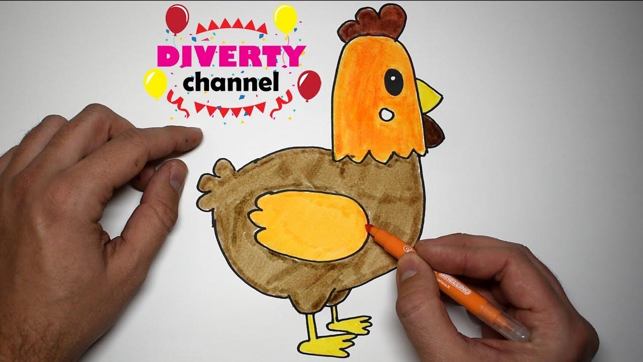 Cómo Dibujar Y Colorear Una Gallina Fácil Dibujos Para Niños Diverty Channel