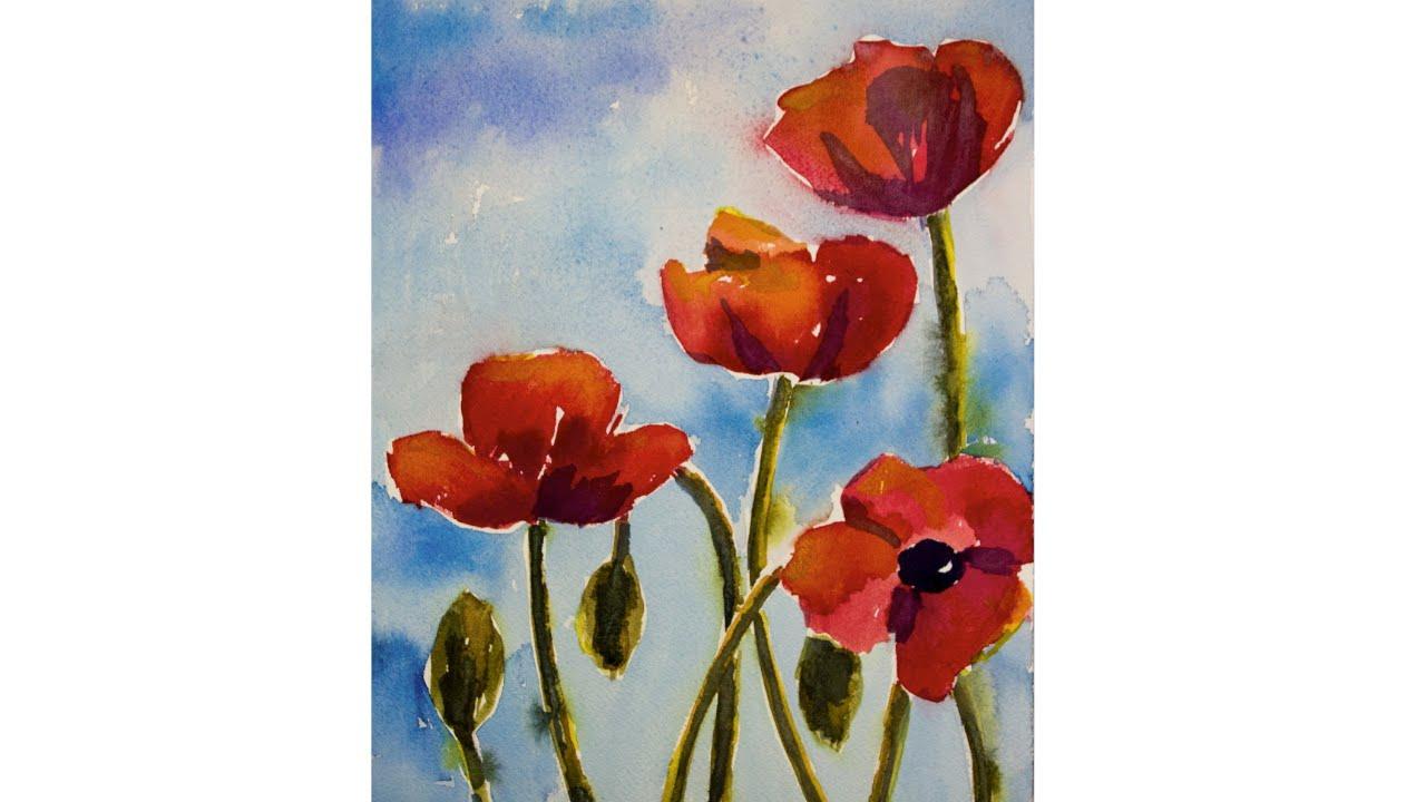 Watercolor poppies tutorial youtube mightylinksfo Gallery