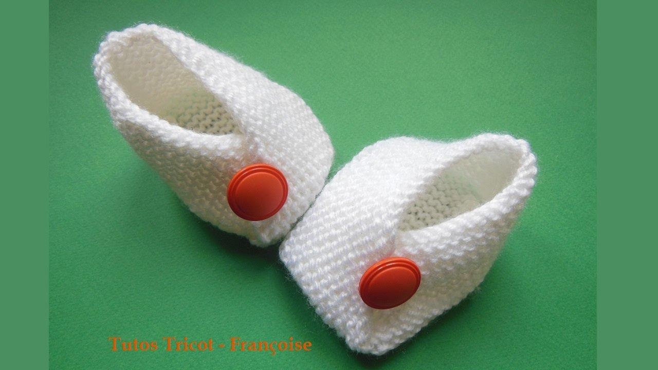 Tuto tricot chaussons point mousse bébé | Comment tricoter des chaussons facilement pour 0 à 6 ...