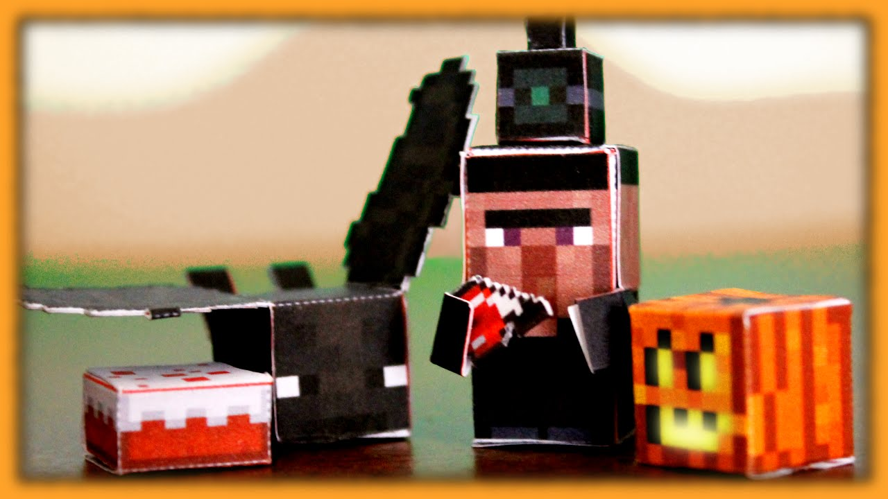 Papercraft DIY Minecraft Papercraft Halloween Minis - Witch, Bat, Pumpkin, Cake (Halloween Special)