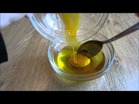How to make a DIY hair mask from olive oil, coconut oil, honey and egg.