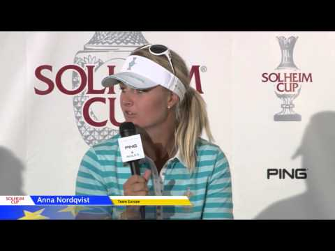 Anna Nordqvist after her hole-in-one to score on Saturday morning at the 2013 Solheim Cup