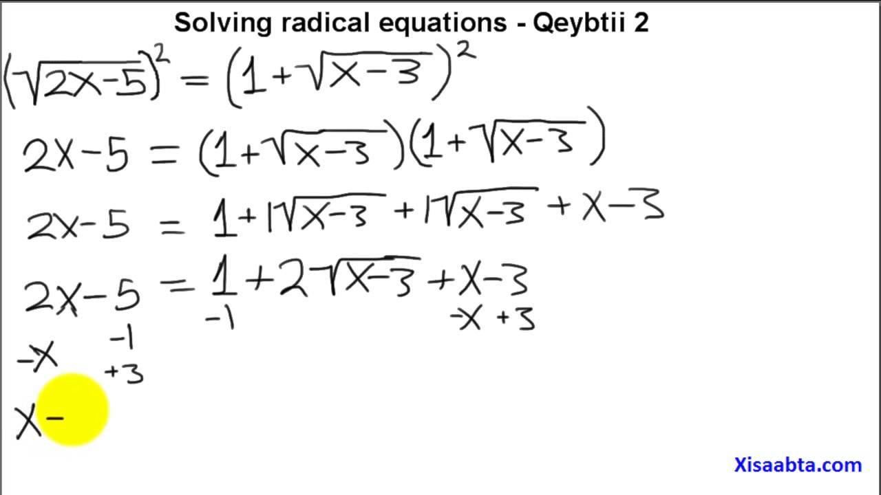 Algebra homework help radicals