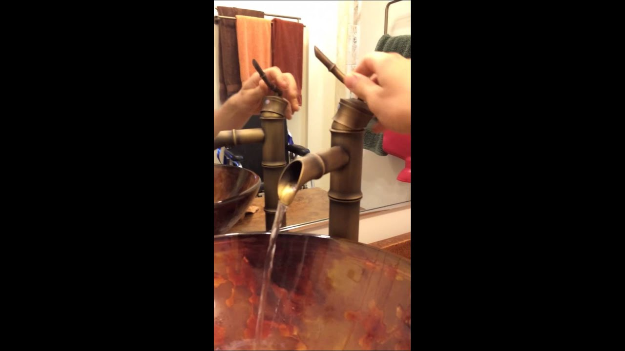 Antique Brass Bamboo Bathroom Vessel Faucet Rise Basin Mixe - YouTube