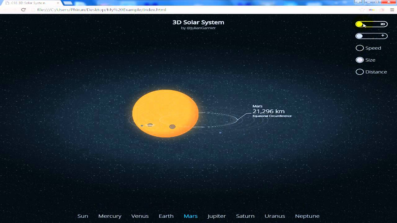 How to create CSS 3D Solar System