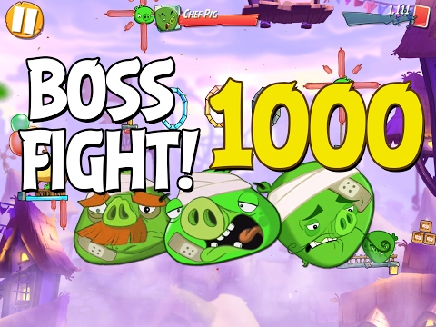 Angry Birds 2 Boss Fight 141! Chef, Foreman & King Pig Level 1000 Walkthrough - iOS, Android