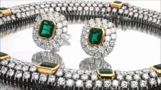 TIFFANY & CO. Platinum Gold Diamond Emerald Necklace & Earrings Jewelry Set