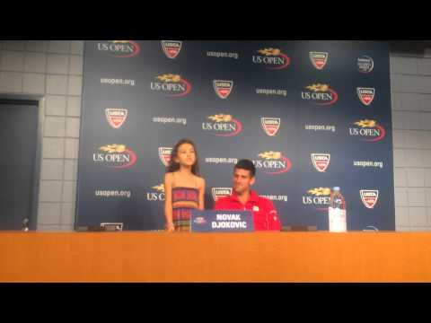 Novak introducing 9 yr old Zia Victoria at Press Conference