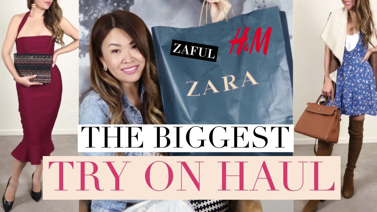MASSIVE TRY ON HAUL! 13 OUTFITS STYLED WITH DESIGNER BAGS | ft ZARA, H&M, ZAFUL #1
