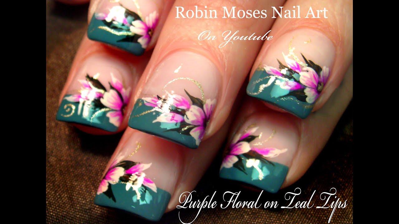 DIY Easy Flowers on French Tips Nail Art Design Tutorial ...
