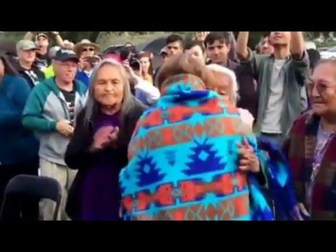 Jane Sanders Receives Shawl From Apache Elders