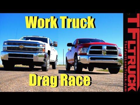 2017 Ram 2500 vs 2017 Chevy 2500: Gas V8 Work Truck Drag Race