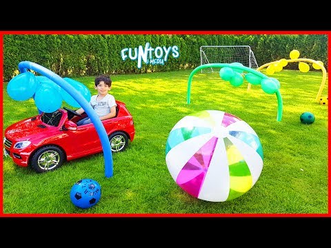 Thumbnail: Learn Colors with Balloons Cars Race for Kids | Play Soccer with Colors Balls and Huge Soccer Ball