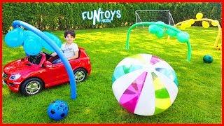 Huge Balloons Cars Race for Kids