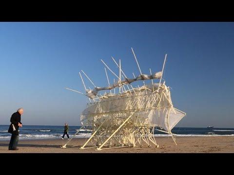 Artist's intricate creations enjoy long walks on beach