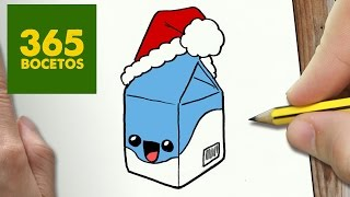COMO DIBUJAR LECHE PARA NAVIDAD PASO A PASO: Dibujos kawaii navideños - How to draw a milk