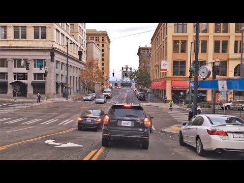 Driving Downtown - Tacoma Washington USA